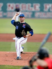 Louisiana Tech pitcher Casey Sutton (36) throws against