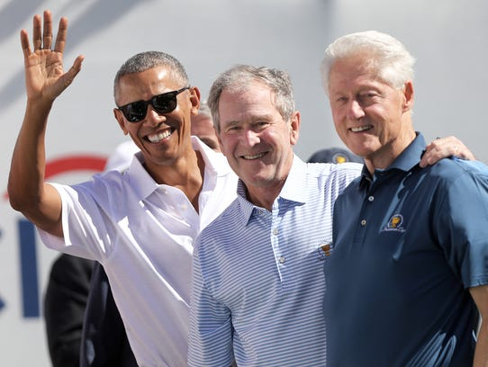 Former presidents, Barack Obama, George W. Bush and