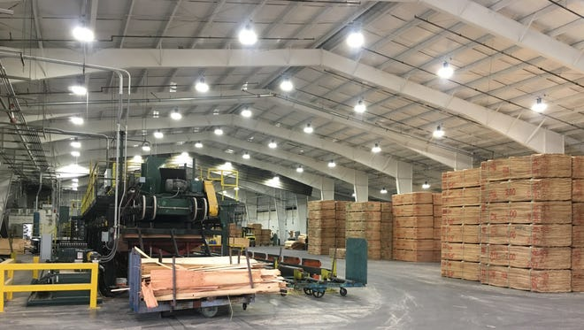 New LED lighting and white paint has created a brighter environment in Freres Lumber Company's Plant 4, a veneer drying facility that was destroyed by fire on June 26.