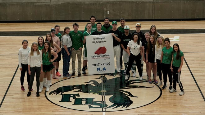 Farmington High School athletics received a first-team Safe Sports School award from the National Athletic Trainers Association this month for the 2017-2018 school year and the next two school years. The award, which gives high schools the Safe Sports School status for a three-year period, recognizes high school athletic programs across the country for their efforts in helping prevent student-athlete injuries.
