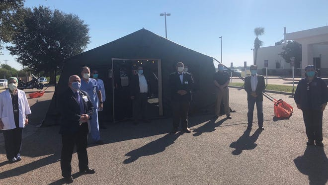 JWC officials take tour at a medical tent stationed at the Alice hospital that is being used to help with COVID-19.