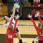 Volleyball - Nebraska at Purdue.  Annie Drews gets a kill in set 1.  By Jerry Schultheiss for Journal & Courier.