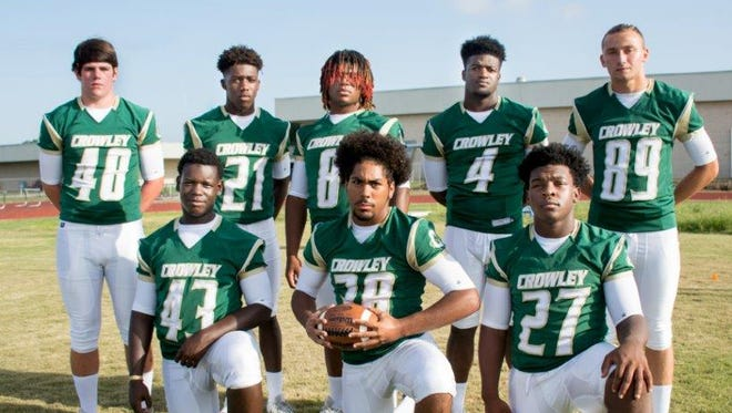 Crowley High Gents' defensive standouts Jackson Hetzler (48), Quentron Gallow (21), Ed Yokum (8), Ty'Von Griffin (4), John Ortiz (89), Desmond Harmon (43), Quanterral Robinson (38) and Jardell Delco (27).