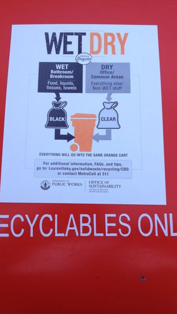 Special wet-dry disposal instructions on a downtown waste container.
