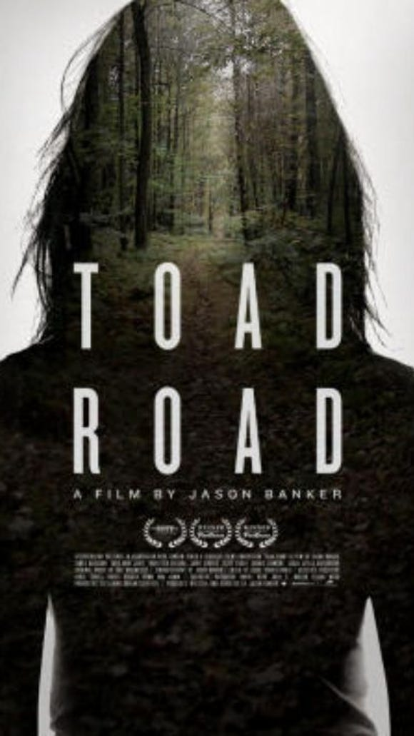 "This is the artwork associated with the film ""Toad Road,"" a 2012 American independent horror thriller film. It was directed by Jason Banker, who has York County ties, and plays on the Seven Gates of Hell urban legend."