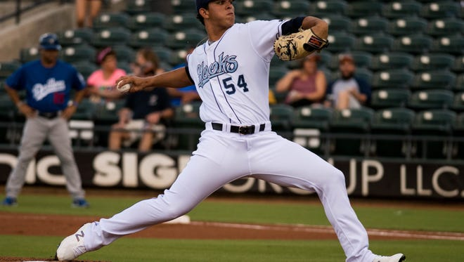 Hooks pitcher Franklin Perez throws against the Tulsa Drillers at Whataburger Field on August 10, 2017.