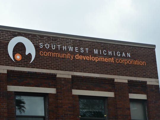 The logo outside the headquarters of Southwest Michigan