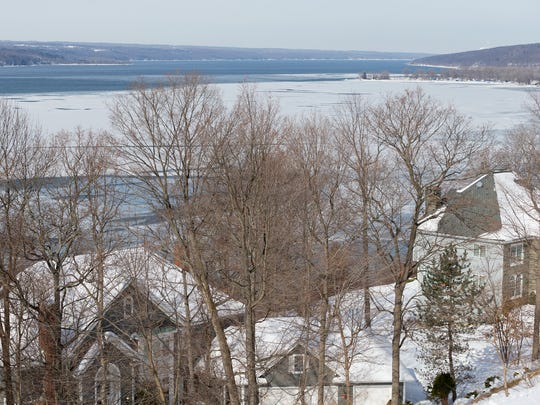 On Tuesday morning February 24th Cayuga Lake was partially frozen from north of the west end of Reach Run Road in the Town of Lansing to Myers Point, upper right.