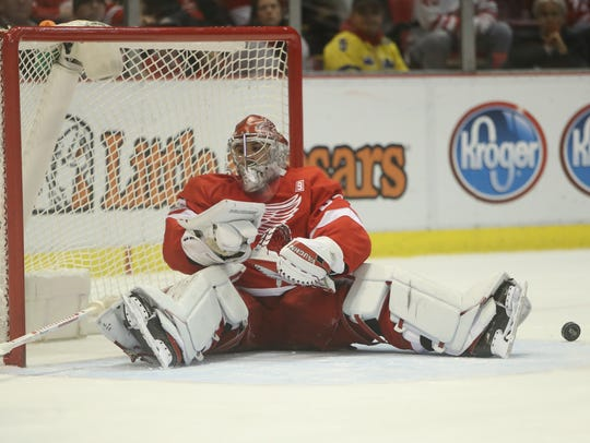 Red Wings goalie Petr Mrazek gives up a goal to Islanders