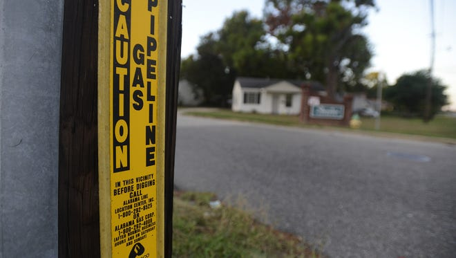 Gas main markers in Montgomery, Ala. on Tuesday September 16,  2014.