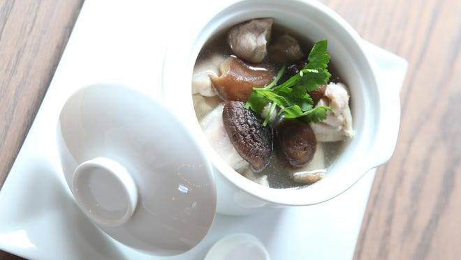 Mushroom Chicken Soup prepared at the Fantasy Cuisine restaurant in Hartsdale Aug. 6.