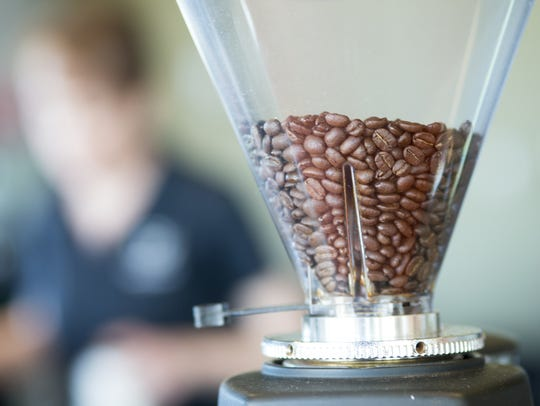 Whole beans, ready to be ground, at the Hubbard and