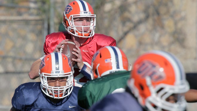 UTEP quarterback Ryan Metz scans for a receiver during practice at the Sun Bowl. The Miners take on UTSA on Saturday.