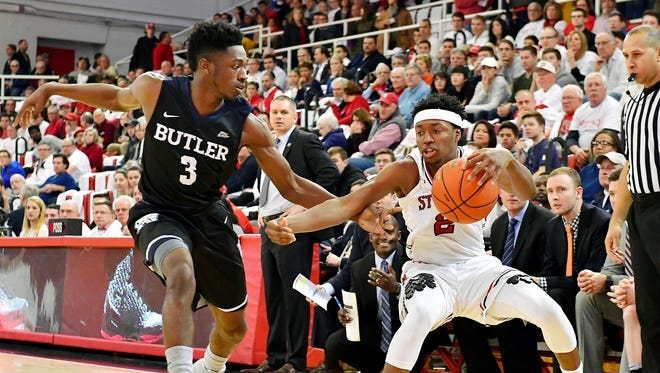 St. John's Shamorie Ponds is defended by Butler's Kamar Baldwin during an NCAA college basketball game in New York, Thursday, Dec. 29, 2016.