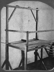 The gallows at Windsor State Prison, about 1875.