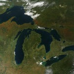 A few days after autumn showed up on the calendar in the Northern Hemisphere, it showed up on the landscape of North America. The Moderate Resolution Imaging Spectroradiometer (MODIS) on NASA's Terra satellite captured these views of fall colors around the Great Lakes (September 26, 2014). The brown and orange shades are most pronounced in the Upper Peninsula of Michigan, northern Wisconsin. Picture received from NASA Sept. 30, 2014