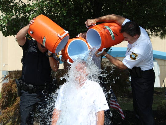 Edison Mayor Tom Lankey accepted the Ice Bucket Challenge Tuesday to raise money and awareness about ALS or Lou Gehrig's disease.