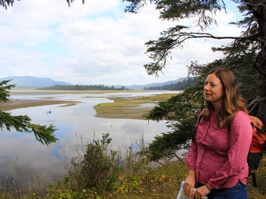Katie Duzik, natural resources specialist for the coastal region of Oregon?s state parks, explains the significant of the estuaries on the Beltz Property, a 357-acre parcel north of Pacific City that will become Oregon's next state park.