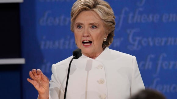 Democratic presidential candidate Hillary Clinton  during the third and final presidential debate at University of Nevada Las Vegas.