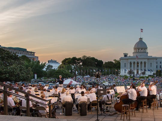The Montgomery Symphony Orchestra presents Jubilee Pops on the steps of the Alabama Department of Archives and History on Friday.