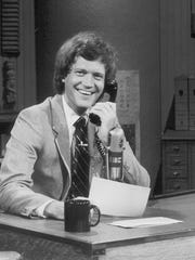 "Letterman performs a bit during his second season of ""Late Night with David Letterman"" in April 1983."