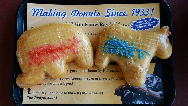 LaMar's Donuts is featuring election themed donuts, Donut J. Trump vs. Fillery Clinton.