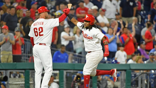 Philadelphia Phillies third baseman Maikel Franco (7) celebrates his home run d9i against the New York Yankees at Citizens Bank Park. Mandatory Credit: Eric Hartline-USA TODAY Sports
