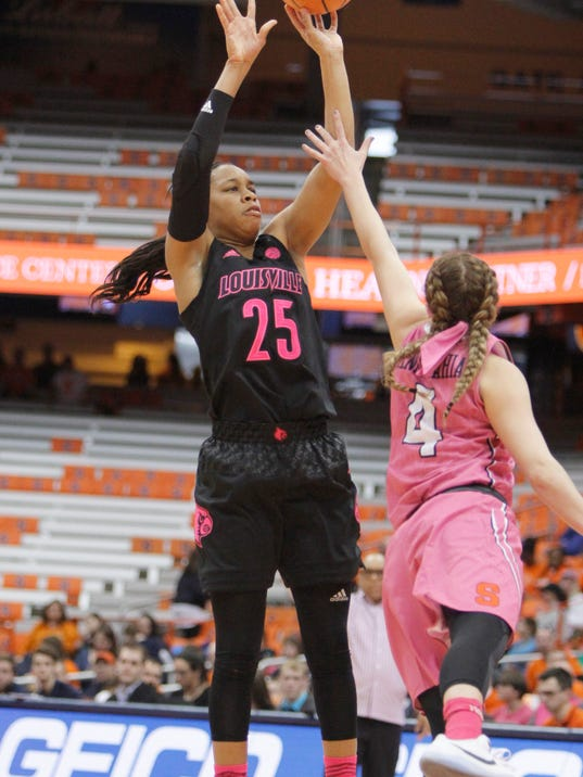 Louisville's Asia Durr, left, shoots over Syracuse's Tiana Mangakahia, right, in the third quarter of an NCAA college basketball game in Syracuse, N.Y., Sunday, Feb. 4, 2018. (AP Photo/Nick Lisi)