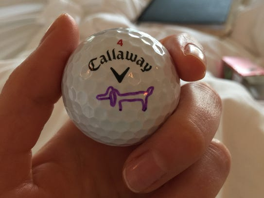 Picasso's one-lined dog that marks Gal's golf ball.