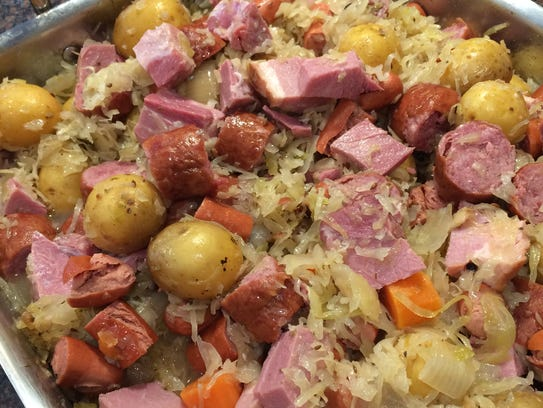 Finished choucroute garnie made with local sauerkraut,