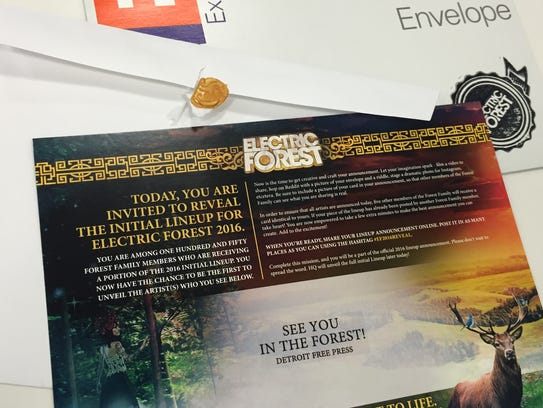 One of the 150 mailers sent to Electric Forest fans