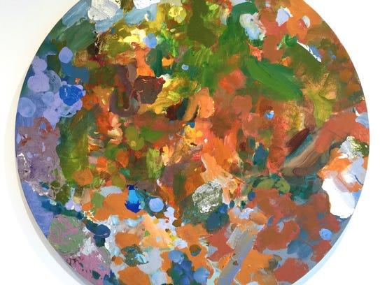 """Sparkling River Tondo"" by New York artist Rebecca"