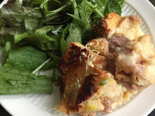 This egg and ham strata is perfect for brunch or can
