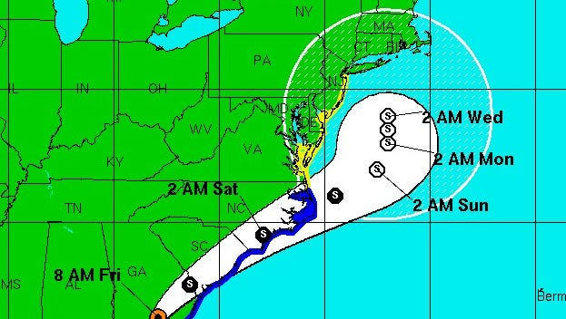 The track shows Hermine stalling off the New Jersey coast early next week.