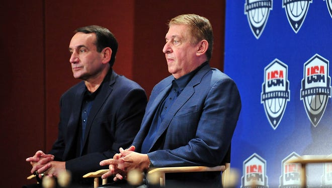 July 7, 2012; Las Vegas; Team USA head coach Mike Krzyzewski (left) and managing director Jerry Colangelo are introduced during a press conference at the Wynn Las Vegas Resort.
