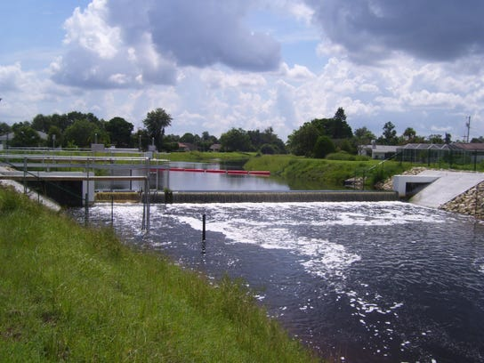 The Able-2 weir, a water control structure, on Able