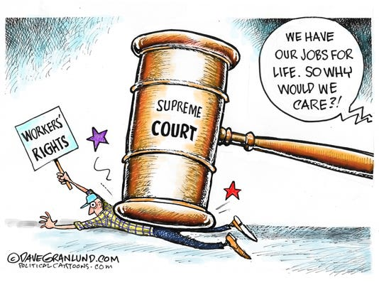 Cartoon: Supreme Court and workers' rights