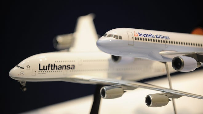 This file photo from Sept. 15, 2008, shows miniature models of Brussels Airlines and Lufthansa planes during a press conference in Brussels. German carrier Lufthansa will buy the 55 percent of Brussels Airlines it does not already own, completing a long-mooted takeover, the airline announced in a statement on September 28, 2016. / AFP PHOTO / BELGA / ERIC LALMANDERIC LALMAND/AFP/Getty Images ORIG FILE ID: AFP_GK6WO