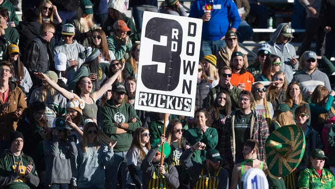 CSU fans cheer for the Rams during a game against San Jose State at CSU Stadium on Saturday, November 18, 2017.