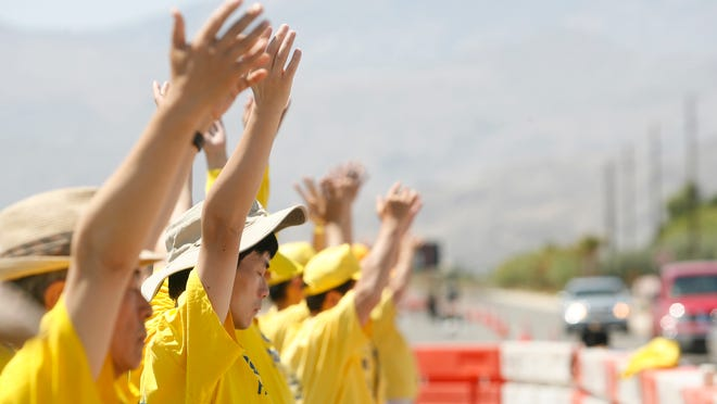 Protestors belonging to Fulan Gong began arriving in Rancho Mirage early Thursday morning in anticipation of China's president Xi Jinping's arrival to the Sunnylands for a binational summit.
