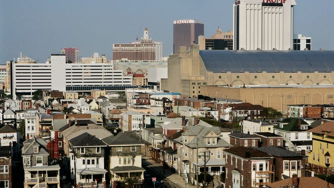 Older neighborhoods are seen near some of the casinos in Atlantic City in May 2008.