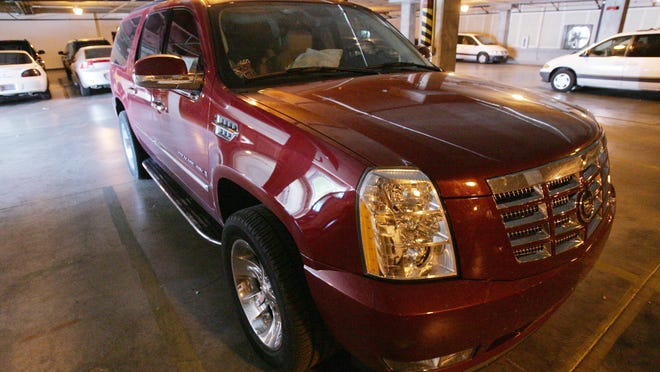 The Cadillac Escalade in which Warren Jeffs was riding when he was apprehended by the Nevada Highway Patrol and the FBI sits in the garage at the FBI offices in Las Vegas in 2006.