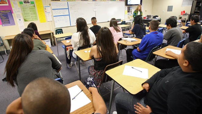 Coachella Valley High School sophomore English teacher Betsy Schwartz tells her class about the California High School Exit Examination in 2011.