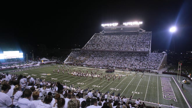 Stadium view of ULM's last sellout crowd against Baylor on September 21, 2012.