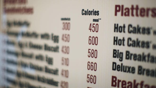 This July 18, 2008 file photo shows a drive-thru menu in New York printed with calorie counts for each food item.