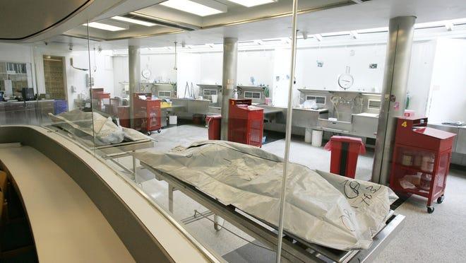 Autopsy bays at the Wayne County Morgue.