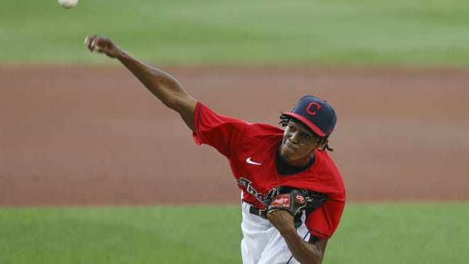Indians starting pitcher Triston McKenzie delivers against the Detroit Tigers   during the first inning last Saturday in Cleveland.