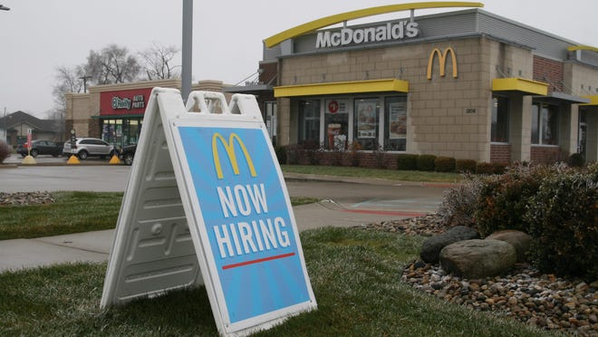 """The McDonald's restaurant on West Chicago Boulevard in Tecumseh displays a """"now hiring"""" sign Saturday. Lenawee County's unemployment rate was 4% in November, according to data release last week by the Michigan Department of Technology, Management & Budget."""