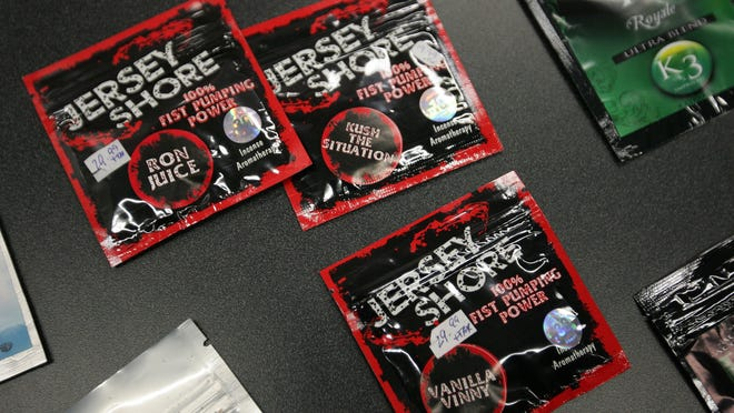 New Jersey law- enforcement officials have issued a ban on synthetic marijuana products, which are often marketed as incense or potpourri. An examples of synthetic marijuana is displayed in 2012 during a press conference in Trenton.