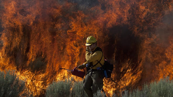 A Bureau of Land Management firefighter covers his face with a gloved hand as he walks along state Route 18 with a drip torch and lights a backfire in an attempt to contain a wildfire burning west of Diamond Valley in this 2011 file photo.